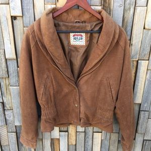 Woman's 90s 80s suede bomber type coat NWT XL